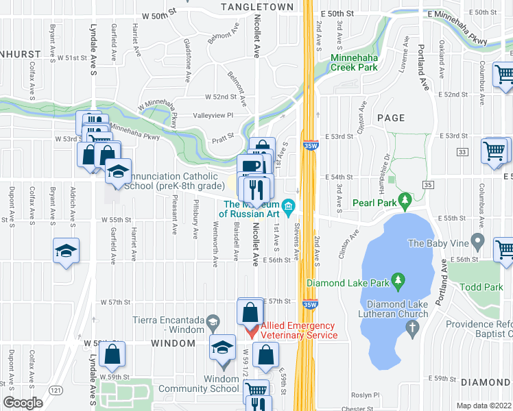 map of restaurants, bars, coffee shops, grocery stores, and more near Nicollet Avenue & East Diamond Lake Road in Minneapolis
