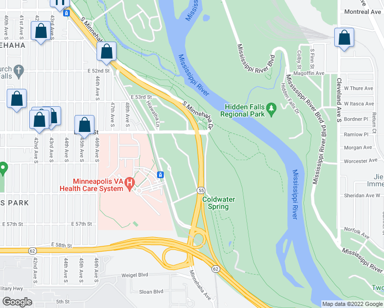 map of restaurants, bars, coffee shops, grocery stores, and more near Hiawatha Ave in Minneapolis