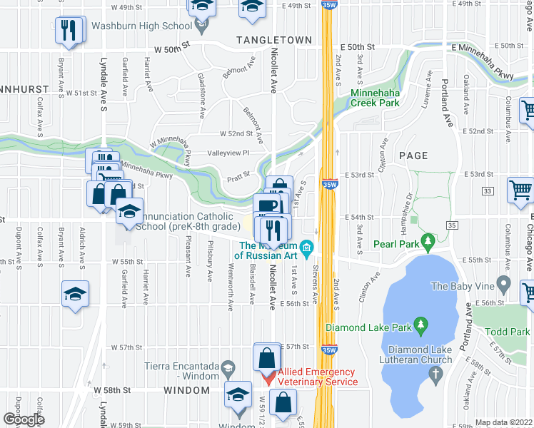 map of restaurants, bars, coffee shops, grocery stores, and more near 15 West Minnehaha Parkway in Minneapolis