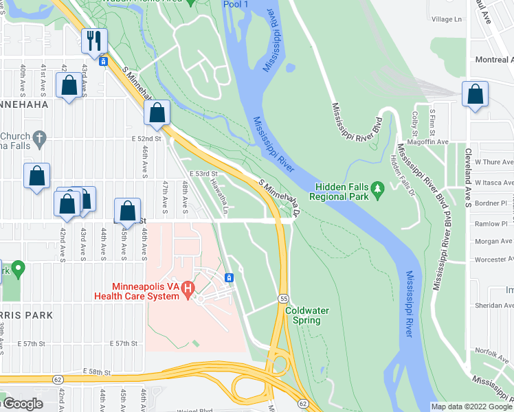 map of restaurants, bars, coffee shops, grocery stores, and more near 5360 Riverview Road in Minneapolis
