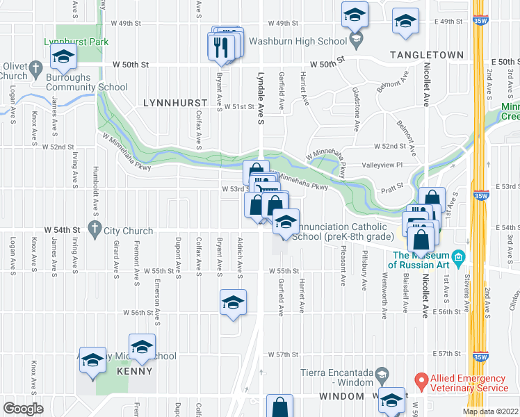 map of restaurants, bars, coffee shops, grocery stores, and more near 5320 Lyndale Avenue South in Minneapolis