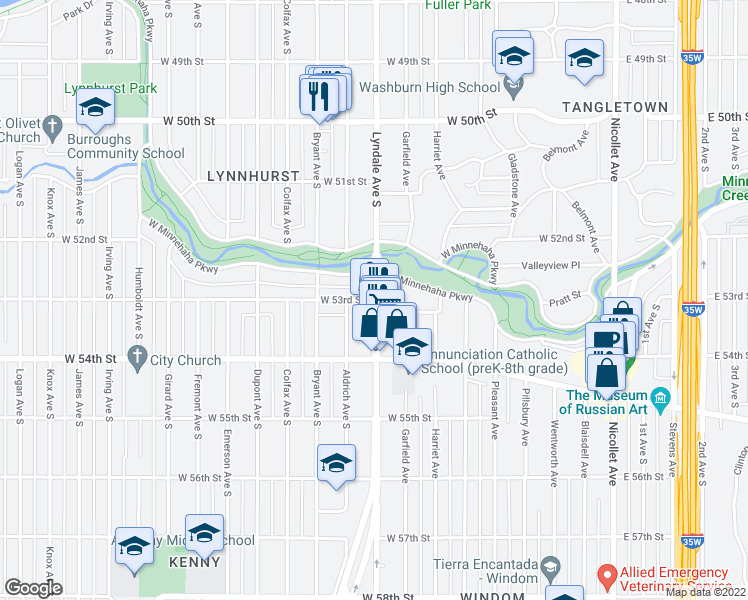 map of restaurants, bars, coffee shops, grocery stores, and more near Lyndale Avenue South & West 53rd Street in Minneapolis