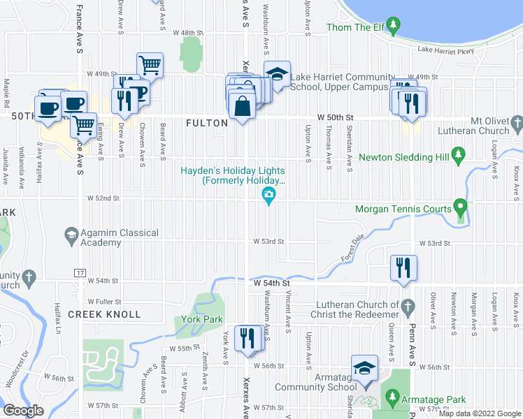map of restaurants, bars, coffee shops, grocery stores, and more near 5208 Washburn Avenue South in Minneapolis