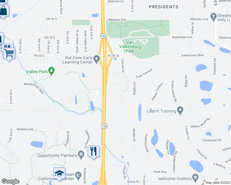 map of restaurants, bars, coffee shops, grocery stores, and more near 5202 Lincoln Drive in Edina