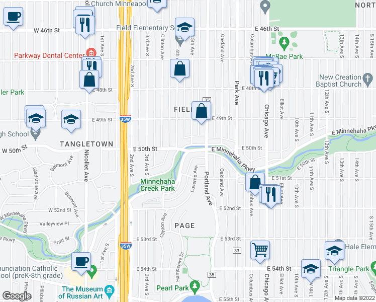 map of restaurants, bars, coffee shops, grocery stores, and more near E Minnehaha Pkwy & E 50th St in Minneapolis
