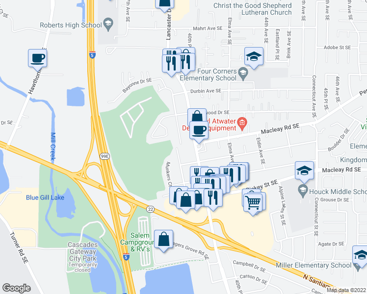 map of restaurants, bars, coffee shops, grocery stores, and more near 800 Meadowlawn Drive Southeast in Salem
