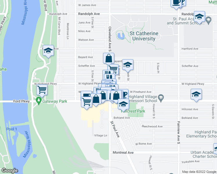 map of restaurants, bars, coffee shops, grocery stores, and more near 725 Cleveland Avenue South in Saint Paul