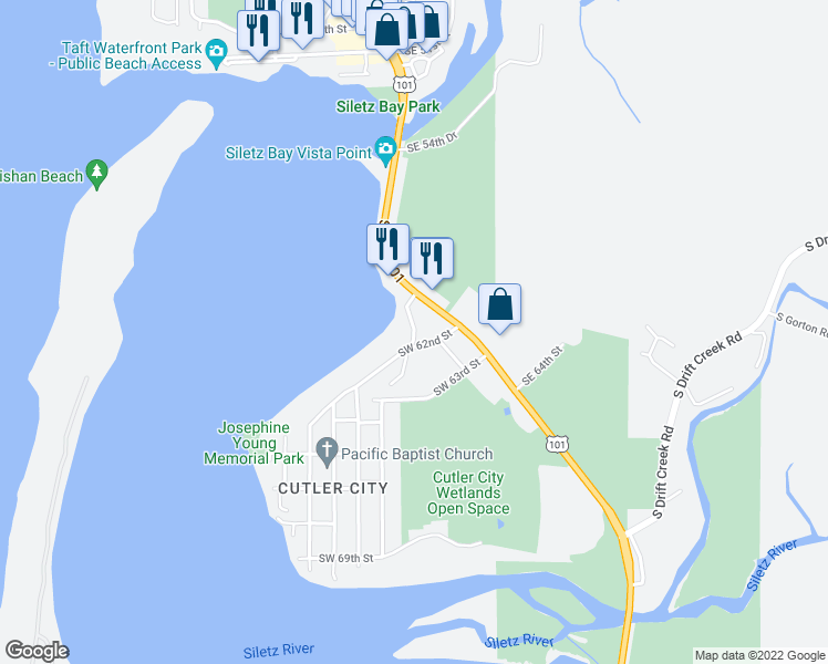 map of restaurants, bars, coffee shops, grocery stores, and more near 6001-6299 Southwest Jetty Avenue in Lincoln City