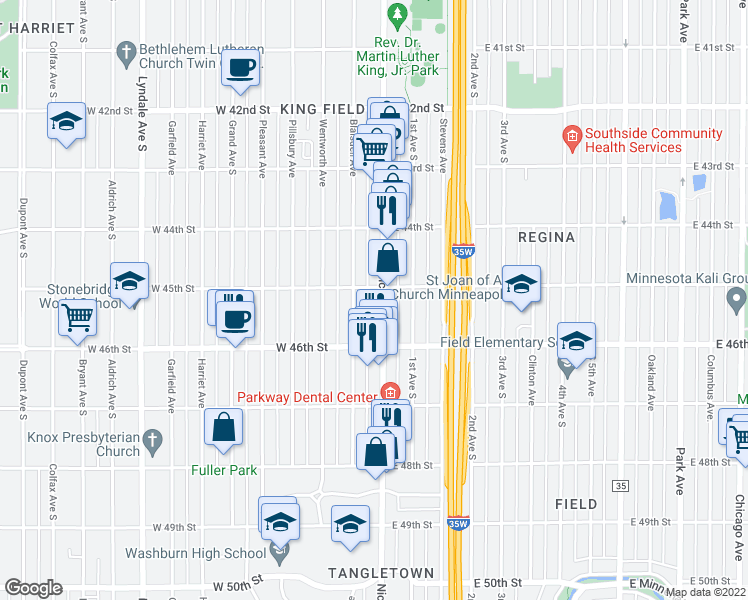 map of restaurants, bars, coffee shops, grocery stores, and more near 4508 Nicollet Ave in Minneapolis