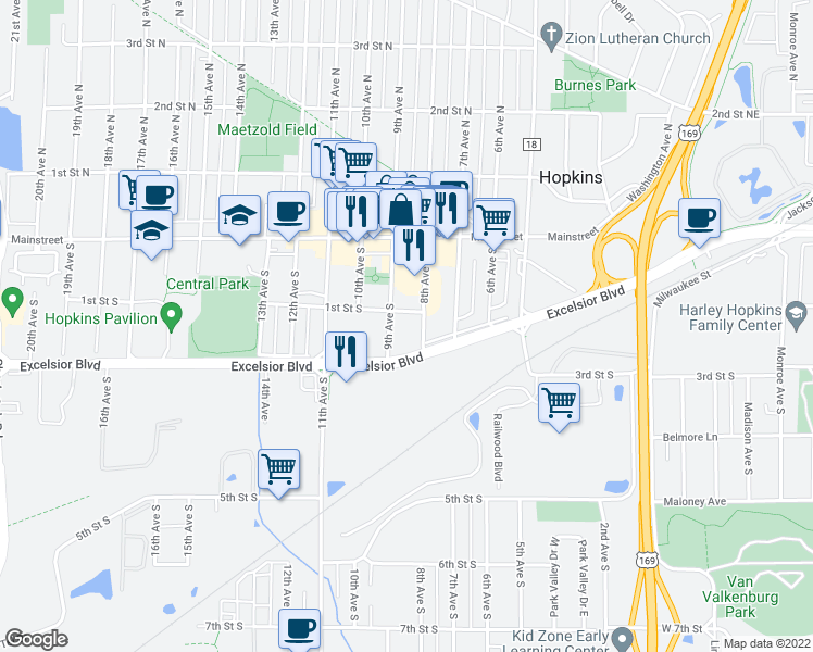 map of restaurants, bars, coffee shops, grocery stores, and more near 100 8th Avenue South in Hopkins