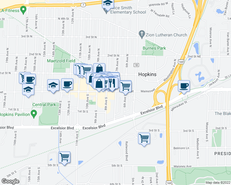 map of restaurants, bars, coffee shops, grocery stores, and more near 19 8th Avenue North in Hopkins