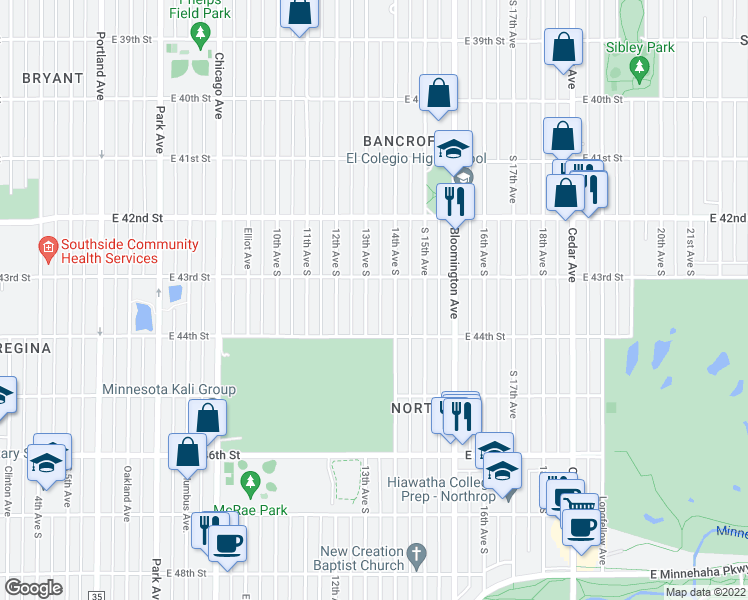 map of restaurants, bars, coffee shops, grocery stores, and more near 4300 13th Avenue South in Minneapolis
