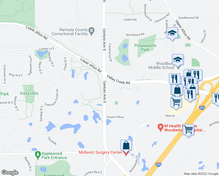 map of restaurants, bars, coffee shops, grocery stores, and more near 1590 Parkwood Drive in Woodbury