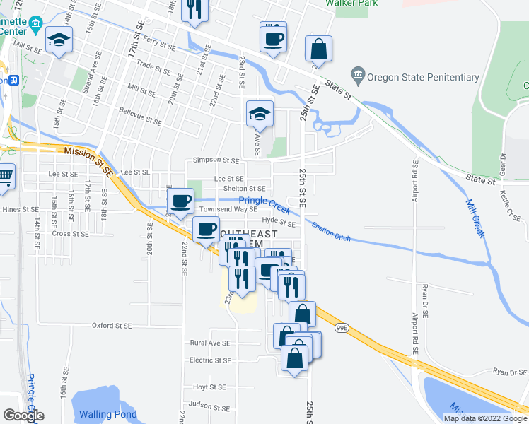 map of restaurants, bars, coffee shops, grocery stores, and more near 2360 Townsend Way Southeast in Salem