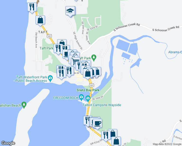 map of restaurants, bars, coffee shops, grocery stores, and more near 5012 Southeast Jetty Avenue in Lincoln City