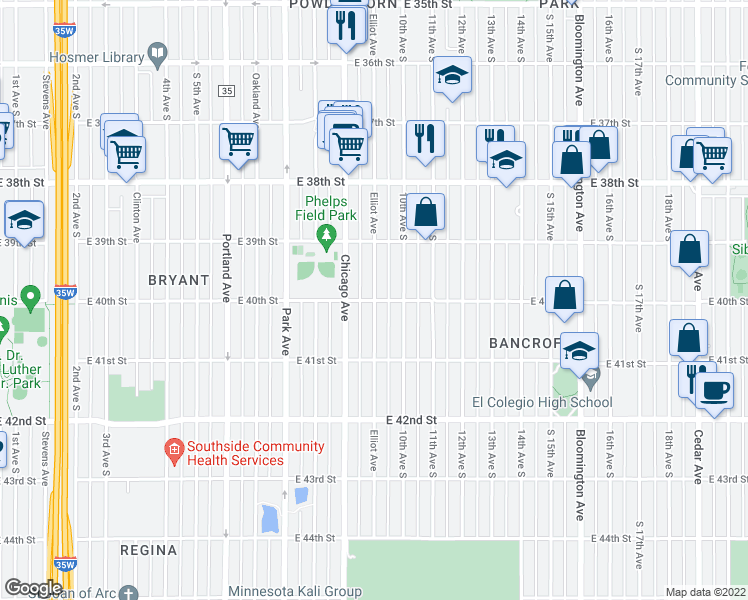 map of restaurants, bars, coffee shops, grocery stores, and more near East 40th Street & Elliot Avenue South in Minneapolis