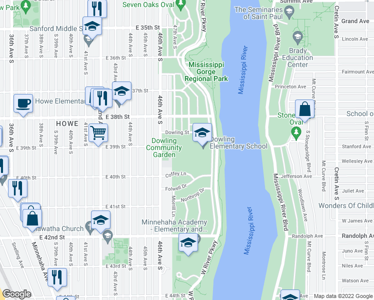 map of restaurants, bars, coffee shops, grocery stores, and more near 4751-4799 Dowling Street in Minneapolis
