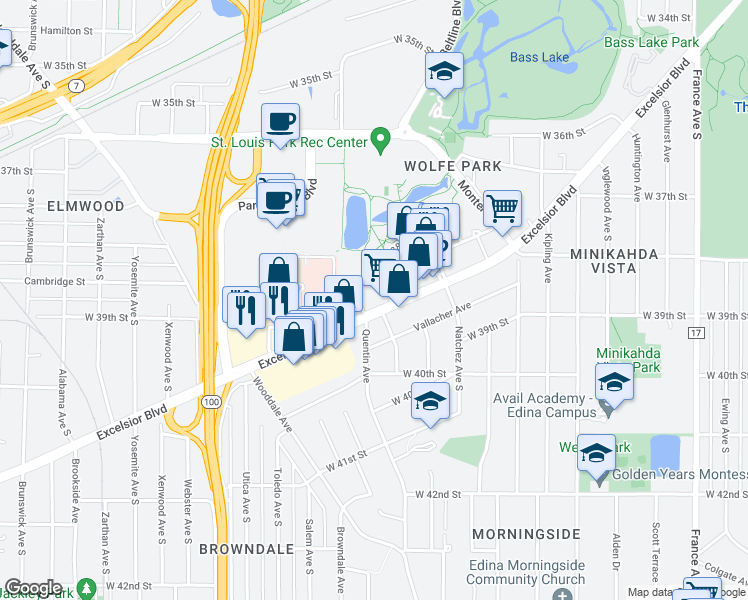 map of restaurants, bars, coffee shops, grocery stores, and more near 4800 Excelsior Boulevard in Saint Louis Park