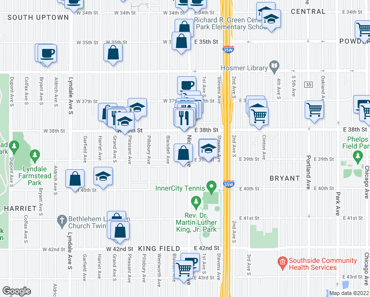 map of restaurants, bars, coffee shops, grocery stores, and more near 3836 Nicollet Avenue in Minneapolis