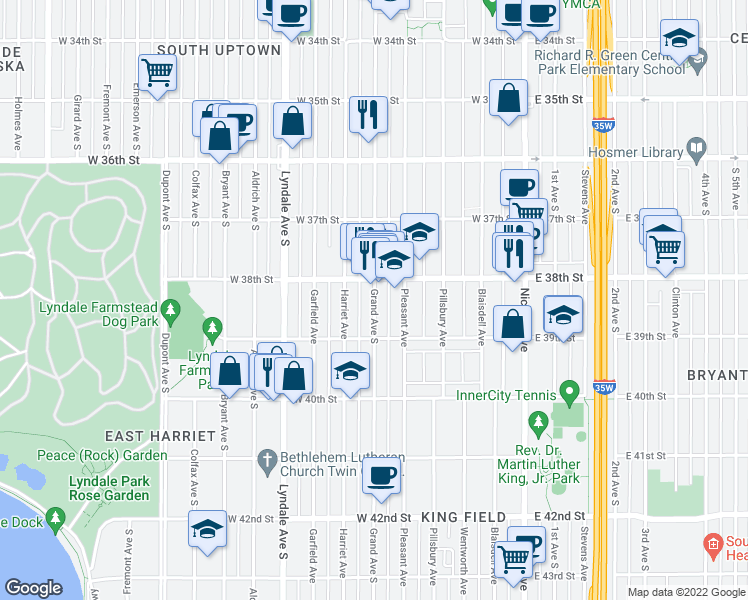 map of restaurants, bars, coffee shops, grocery stores, and more near 401-499 West 38th Street in Minneapolis