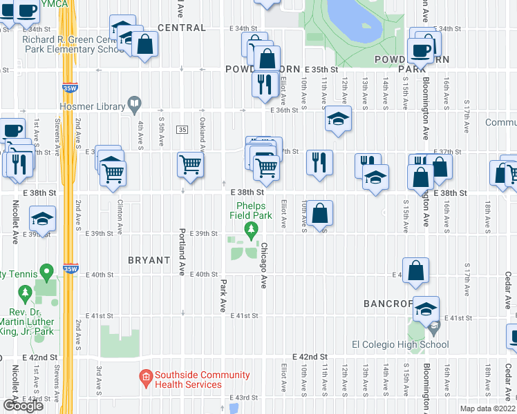 map of restaurants, bars, coffee shops, grocery stores, and more near 3818 Chicago Avenue in Minneapolis
