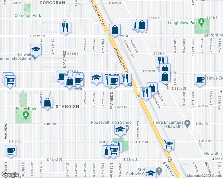 map of restaurants, bars, coffee shops, grocery stores, and more near E 38th St & S 28th Ave in Minneapolis