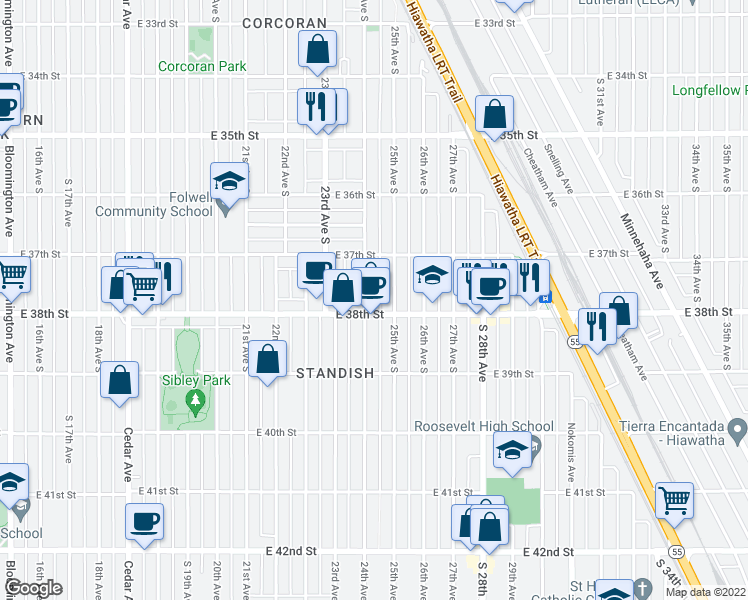 map of restaurants, bars, coffee shops, grocery stores, and more near 3737 24th Avenue South in Minneapolis