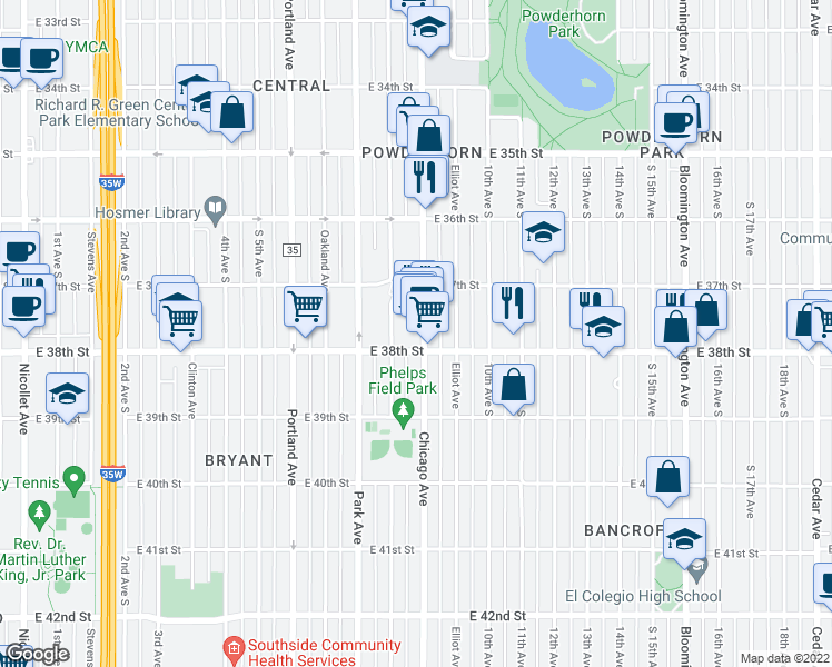 map of restaurants, bars, coffee shops, grocery stores, and more near 3740 Chicago Avenue South in Minneapolis