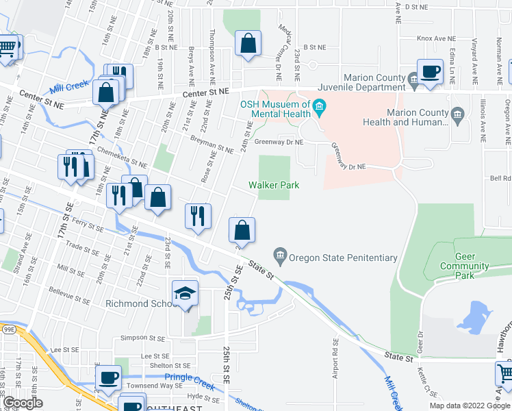 map of restaurants, bars, coffee shops, grocery stores, and more near 330 25th Street Northeast in Salem