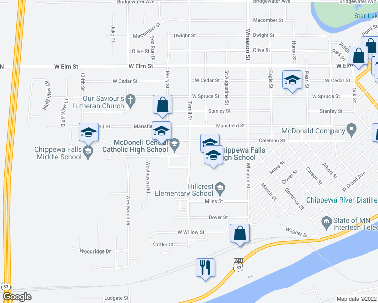 map of restaurants, bars, coffee shops, grocery stores, and more near 752-762 Terrill Street in Chippewa Falls