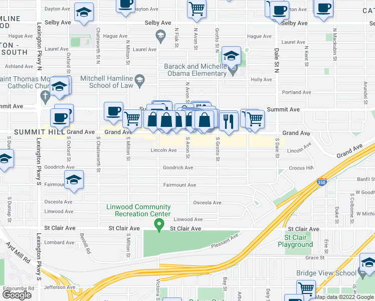 map of restaurants, bars, coffee shops, grocery stores, and more near 800 Lincoln Ave in St Paul