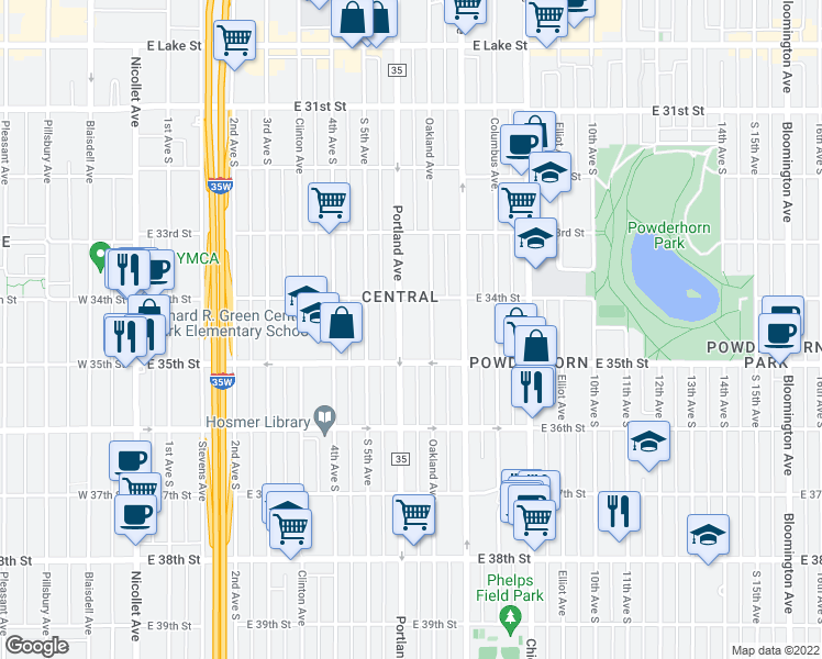 map of restaurants, bars, coffee shops, grocery stores, and more near 3421 Portland Avenue South in Minneapolis