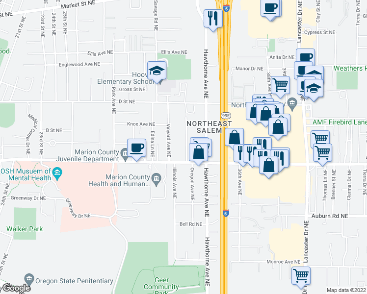 map of restaurants, bars, coffee shops, grocery stores, and more near 785 Norman Avenue Northeast in Salem