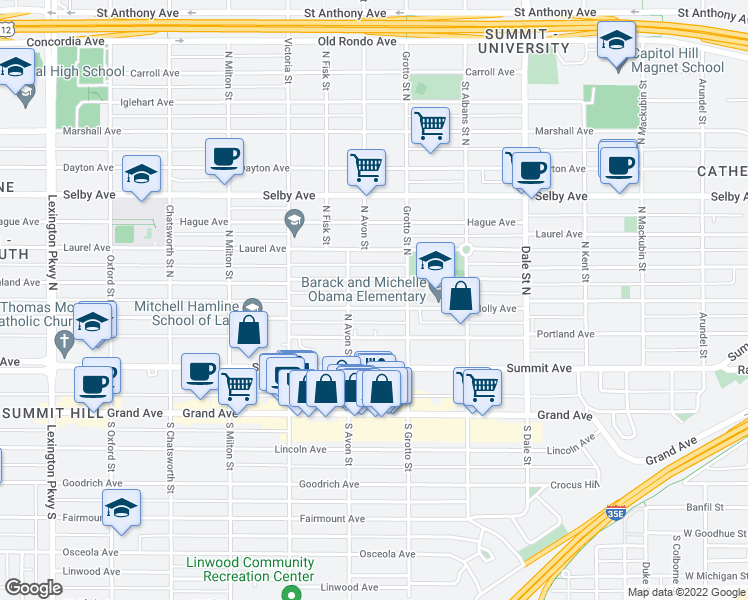 map of restaurants, bars, coffee shops, grocery stores, and more near 775 Holly Avenue in Saint Paul