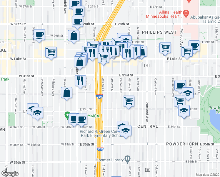 map of restaurants, bars, coffee shops, grocery stores, and more near 3142 3rd Avenue South in Minneapolis