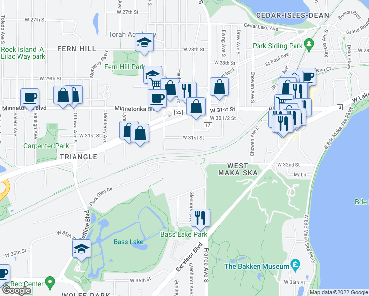 map of restaurants, bars, coffee shops, grocery stores, and more near 3200 Inglewood Avenue South in Minneapolis