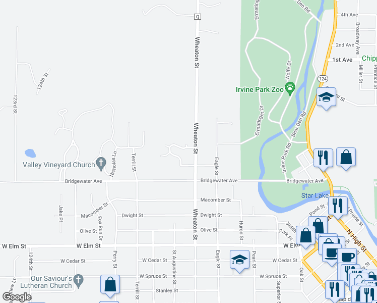 map of restaurants, bars, coffee shops, grocery stores, and more near 1614 Wheaton Street in Chippewa Falls