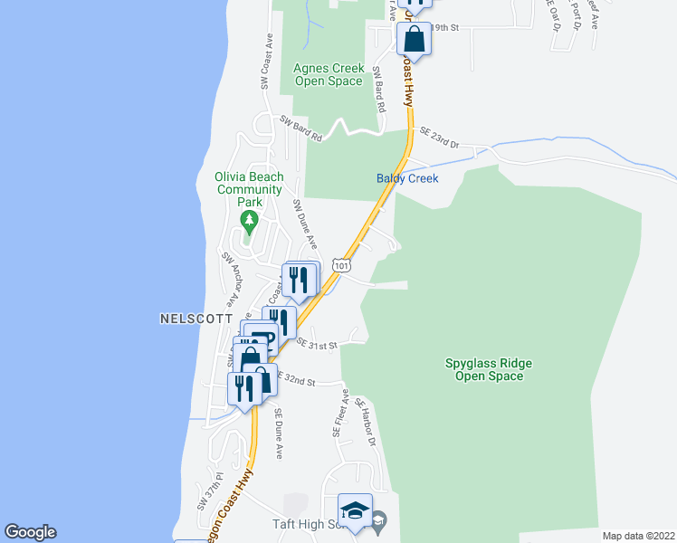 map of restaurants, bars, coffee shops, grocery stores, and more near 2798 Southwest Highway 101 in Lincoln City