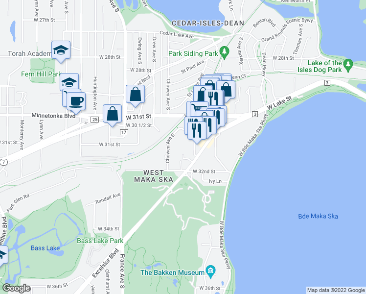 map of restaurants, bars, coffee shops, grocery stores, and more near 3430 List Place in Minneapolis