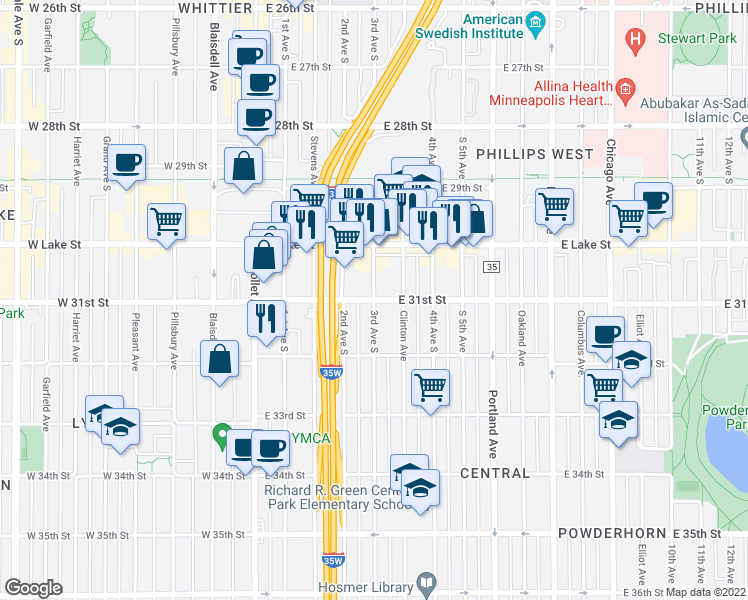map of restaurants, bars, coffee shops, grocery stores, and more near 3rd Avenue South & East 31st Street in Minneapolis