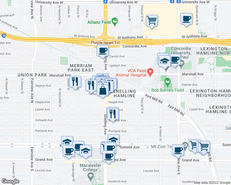 map of restaurants, bars, coffee shops, grocery stores, and more near 1555 Selby Avenue in Saint Paul