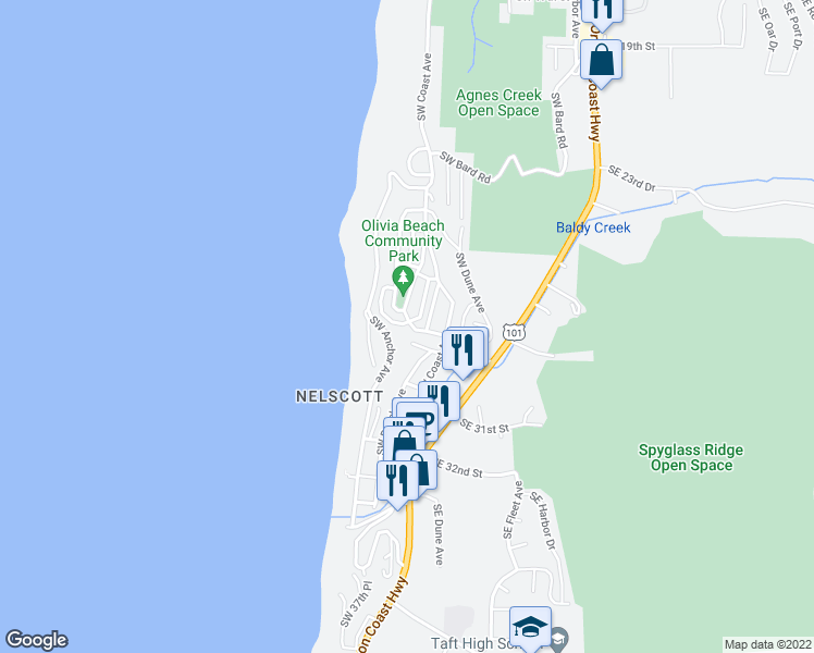 map of restaurants, bars, coffee shops, grocery stores, and more near 550 Southwest 28th Street in Lincoln City