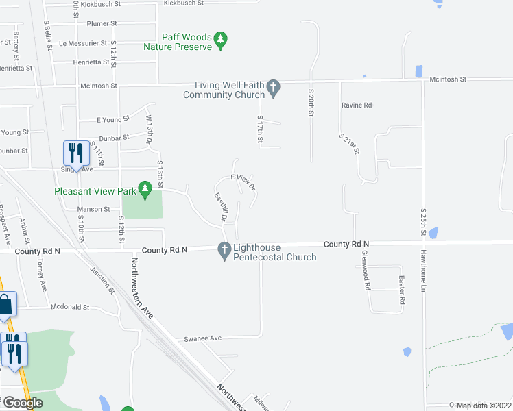map of restaurants, bars, coffee shops, grocery stores, and more near 1207 East View Drive in Wausau