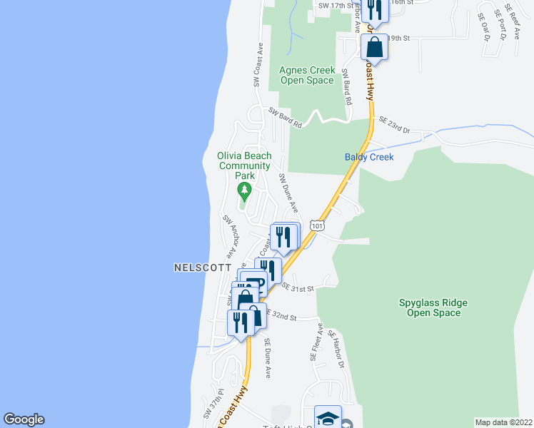 map of restaurants, bars, coffee shops, grocery stores, and more near 2746 Southwest Beach Avenue in Lincoln City