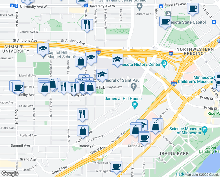 map of restaurants, bars, coffee shops, grocery stores, and more near 300 Dayton Ave in St Paul