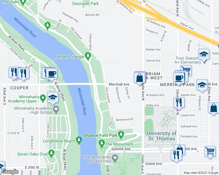map of restaurants, bars, coffee shops, grocery stores, and more near 2320 Marshall Avenue in Saint Paul