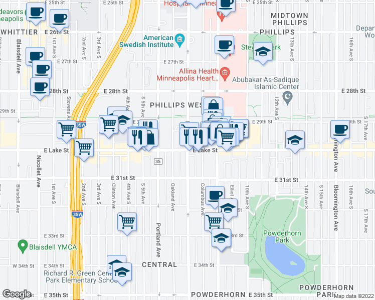 map of restaurants, bars, coffee shops, grocery stores, and more near Park Avenue South & East Lake Street in Minneapolis