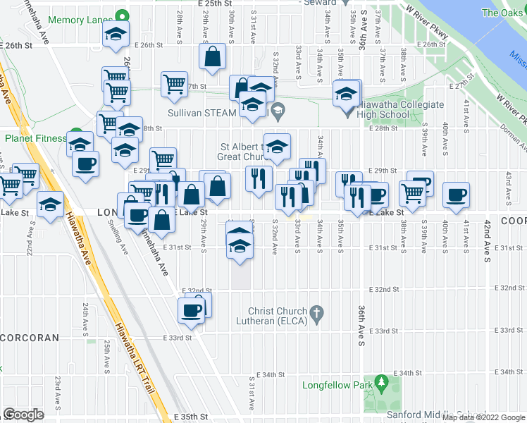 map of restaurants, bars, coffee shops, grocery stores, and more near 3110 E Lake St in Minneapolis