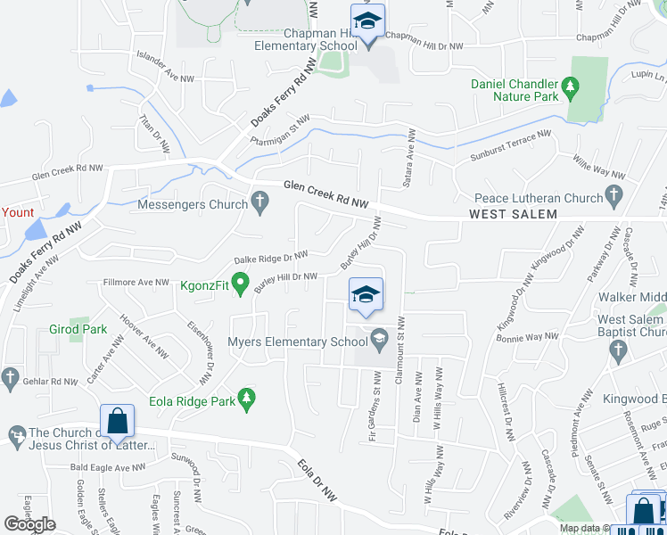 map of restaurants, bars, coffee shops, grocery stores, and more near 979 Burley Hill Drive Northwest in Salem