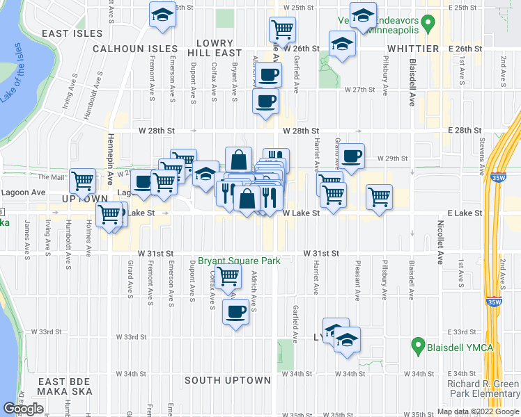 map of restaurants, bars, coffee shops, grocery stores, and more near 720 West Lake Street in Minneapolis